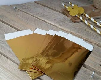 10 glossy shiny Golden Gift bags