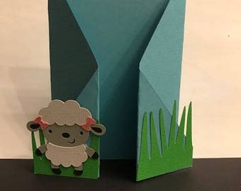 Blank Greeting Card- Baby Girl Little Lamb
