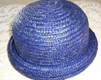 DARK BLUE STRAW HAT FOR CHILD