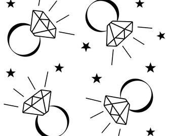 Fabric printed black on white diamond ring