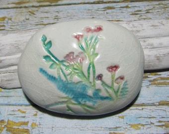 Pebble paperweight botanical Herbarium ceramic earthenware herbs wild fern decorative object