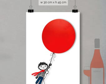 print - red balloon (30 x 45cm)