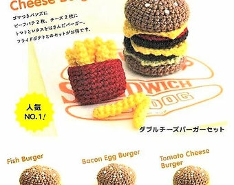 Fast food crochet etsy crochet toy food set pattern cake sweet birthday knitted food hamburger fast forumfinder Choice Image