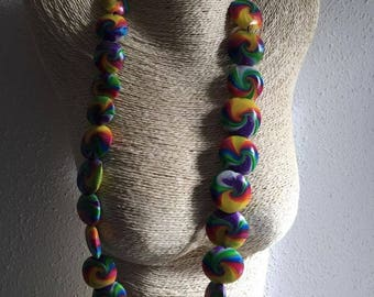 swirl necklace multicolored elastic