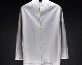 Mens White V Neck Breathable Linen Cotton Shirt