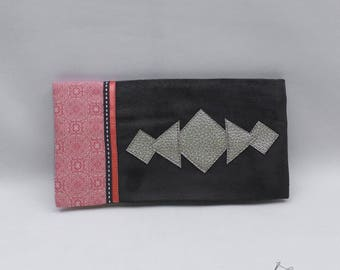 Checkbook suede cotton and grey coral