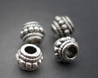 4 pcs - ethnic spacer beads, large hole antique silver 8mm x 6mm • •