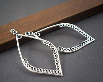 MULTISTRAND connectors openwork drops, leaves, earrings, silver metal * 2pcs * 55mm x 26mm
