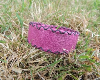 hand stitched Fuchsia leather bracelet