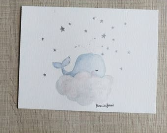 The little blue whale on a cloud illustration