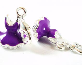 2 charms enamel charms 32X15mm purple dress (bre1)