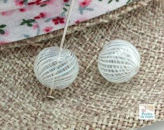 2 beads, blown glass spiral white diameter 13mm (pv616)