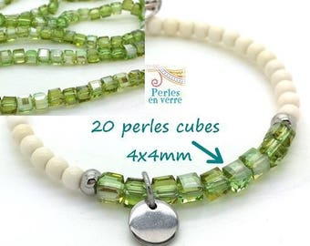 Green: 20 cubic faceted glass AB, 4X4mm (pv645)