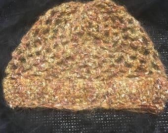 Gold thread yarn Crochet Cloche hat