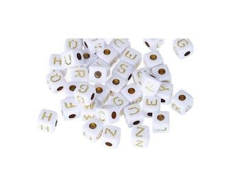 100 Acrylic square letter randomly 9mm x 9mm white pearls