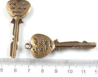 bronze 1 key charm hanging 55x20mm