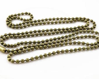1 necklace 2.0 mm ball bead chain Pearl connector 65 cm within 15 days