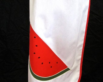 M 70s Watermelon Dress Maxi Long White Red Button Front Scoop Neck Sleeveless Resort Medium by Park East Swirl