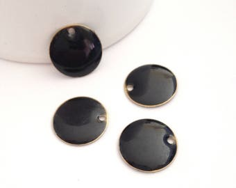 x 4 round, 15mm Sequins, black - enamel bifaces pastille / double-sided
