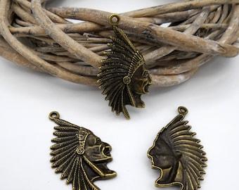 bronze metal Indian head 1 pendant