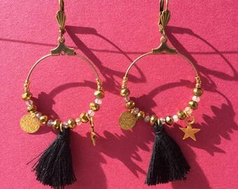 REVERIE earrings pearls, black pompn and hoops