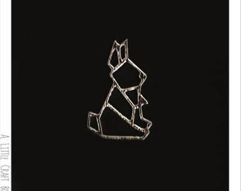 2 pendants / charms - silver rabbit Origami