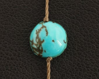 Adjustable bracelet with turquoise - Brown yarn