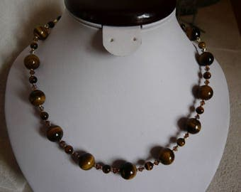 TIGER EYE AND SWAROVSKI CRYSTAL NECKLACE