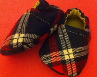 Flannel Plaid, born size baby shoes