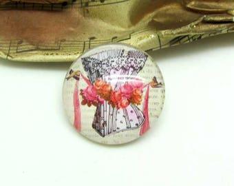2 cabochons 20 mm glass 2-20 mm pink Corset