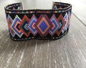 Multicolor miyuki beads Cuff Bracelet