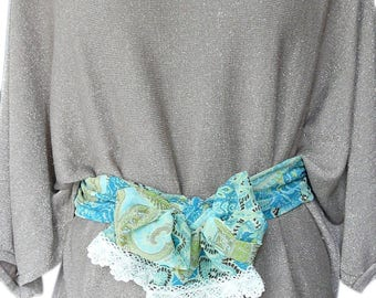 Belt / scarf / headband fabric green and white lace
