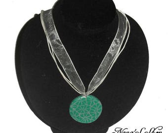 Choker and pendant polymer clay, green and gray
