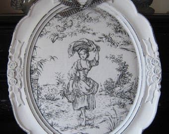 Frame oval French toile de jouy pastoral scene romantic and shabby collection