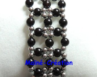 Black Agate Cuff Bracelet and steel beads