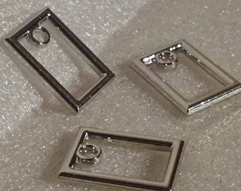 X 2 piece metal rectangle charms ± 27x19mm (eye ± 3mm)