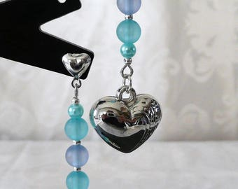 Earrings blue and silver heart 6cm