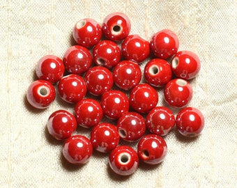 100pc - ceramic porcelain iridescent 10mm red round beads