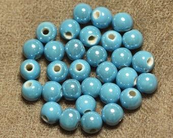 10pc - porcelain ceramic Turquoise Blue beads 8mm 4558550009784 balls