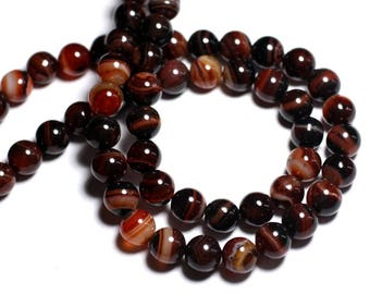 5pc - stone beads - black and Red Agate beads 10mm - 8741140000575