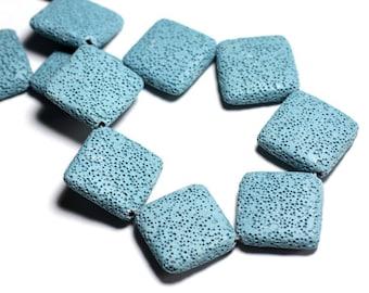 1pc - bead stone - lava large 32mm blue Turquoise - 8741140001237 Rhombus