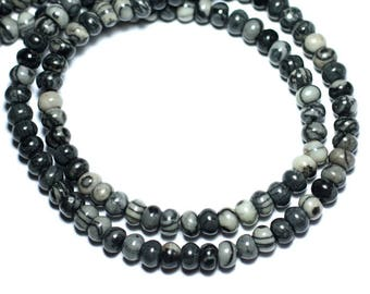 20pc - beads - Rondelle 6x4mm Zebra Jasper - 8741140008557