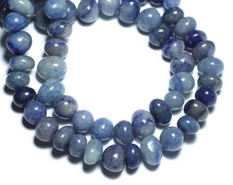 -Stone beads - Aventurine blue pebbles 8741140008458-9-12mm 10pc