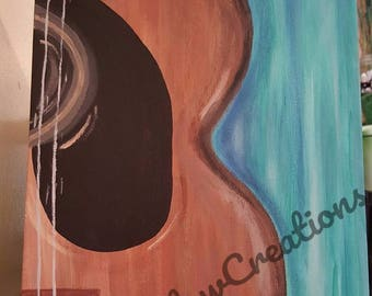 Guitar painting  8x10 W/ FREE SHIPPING