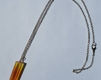 Resin necklace on silver chain