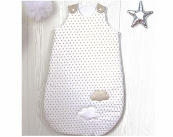 Baby sleeping bag, 1 - 8  months, white with beige stars