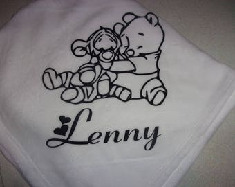 Fleece blanket white baby personalize it with a flocking velvet (1 and 1 listing)