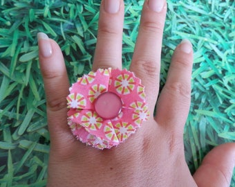 Pink fabric flower ring