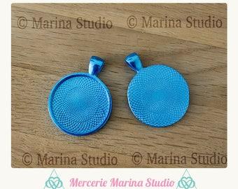 Medium turquoise blue round cabochon 25mm cabochon pendant