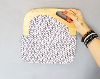 Wood handle Alaia pouch - pink graphic print fabric